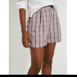 Frank and Oak high waisted plaid shorts